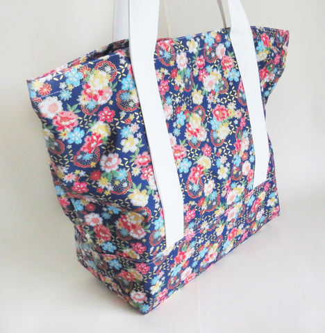 Oriental flowers with gold accents print tote bag, reusable grocery bag, knitting project bag.