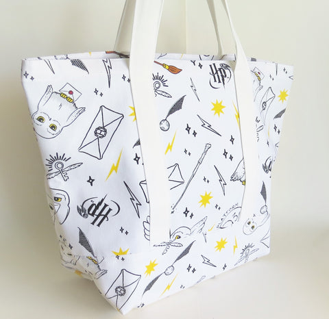Harry potter inspired Hedwig, Wand, Snitch print tote bag, cotton bag, reusable grocery bag, knitting project bag.