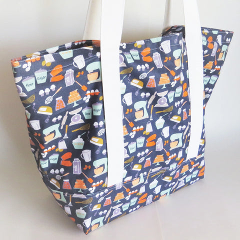 Baking lover - flour, sugar, eggs, whisk, kitchenaid -  print tote bag, cotton bag, reusable grocery bag.