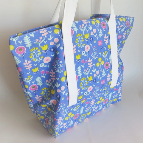 Blue floral  print tote bag, cotton bag, reusable grocery bag.