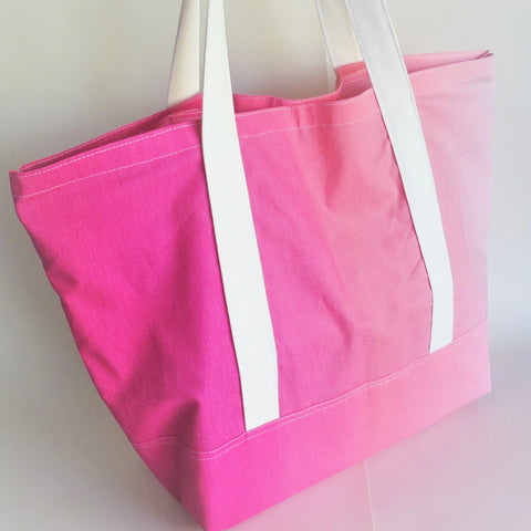 Pink ombre gradient print tote bag, cotton bag, reusable grocery bag.