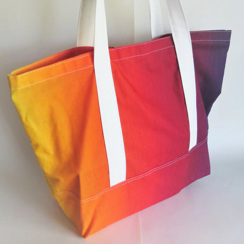 Sunset colors ombre gradient print tote bag, cotton bag, reusable grocery bag.