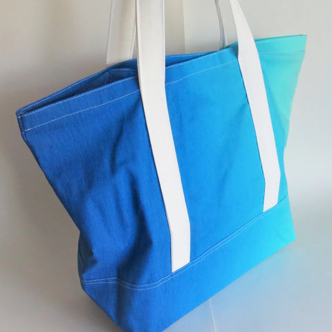 Blue ombre gradient print tote bag, cotton bag, reusable grocery bag.