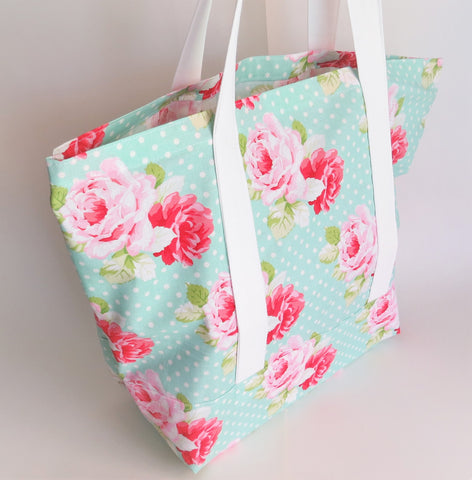 Roses on Green polka dot print tote bag, cotton bag, reusable grocery bag.