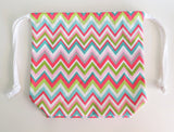 Colorful Chevron print cotton drawstring bag or knitting project bag.