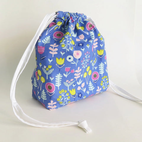 Blue Floral print cotton drawstring bag or knitting project bag.