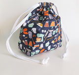 Baking - flour, eggs, mixer, whisk, milk -  print cotton drawstring bag or knitting project bag.