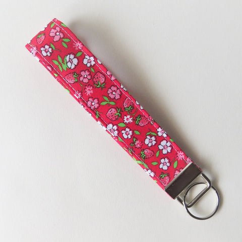 Strawberries and flowers print Fabric Keychain, Key Fob Wristlet, Key Fob Keychain, Key Wrist Strap.