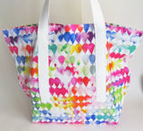 Colorful Watercolor droplets print tote bag, cotton bag, reusable grocery bag.