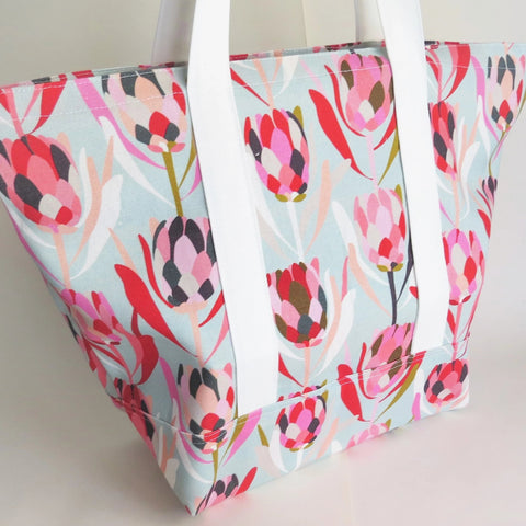 Mint Protea flower print tote bag, cotton bag, reusable grocery bag.