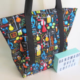 Science Chemistry biology in black print tote bag, cotton bag, reusable grocery bag, knitting project bag.