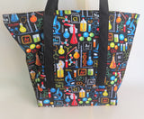 Science Chemistry biology in black print tote bag, cotton reusable grocery bag.