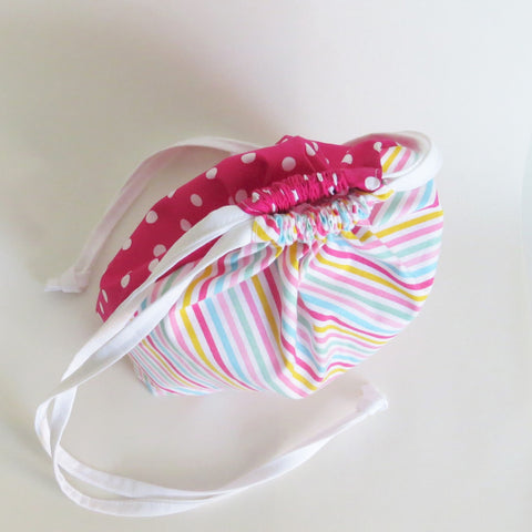 Two sided-  pink polka dot and diagonal stripes print cotton drawstring bag, knitting project bag.