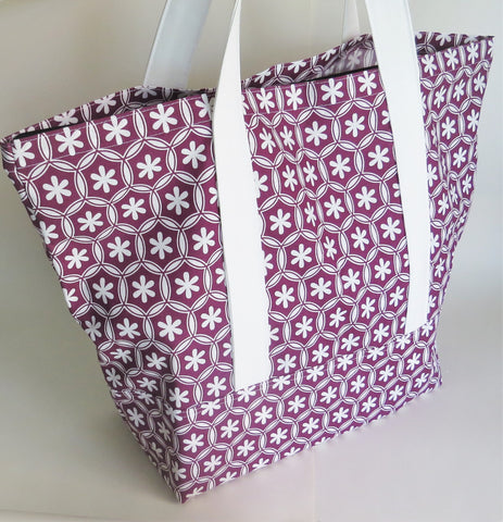 Geometric Floral print tote bag, cotton bag, reusable grocery bag, knitting project bag.