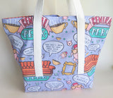 FRIENDS TV SHOW inspired central perk, Pivot, we were on a break, turkey print tote bag.