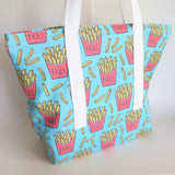 French fries, chips print tote bag, reusable cotton bag.