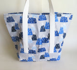 Snow-capped mountains print tote bag, cotton bag, reusable grocery bag, knitting project bag.