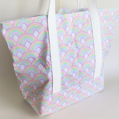 Rainbow print tote bag