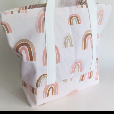 Blush pink Rainbow tote bag