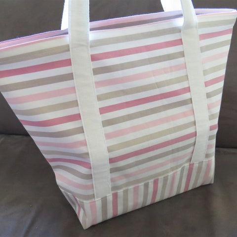 Pink stripes tote bag, cotton bag, reusable grocery bag, Green Market bag