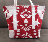 Red and white print tote bag, cotton bag, reusable grocery bag, knitting project bag.