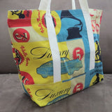 Vintage travel print tote bag, cotton bag, reusable grocery bag, Beach bag, Knitting project bag