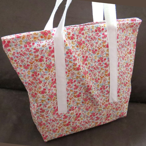 Small Floral Print tote bag, cotton bag, reusable grocery bag, knitting project bag.