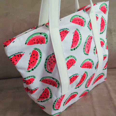 Watermelon print tote bag, cotton bag, reusable grocery bag, knitting project bag.