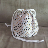 White, black and gold print Drawstring bag, cotton bag, knitting project bag.