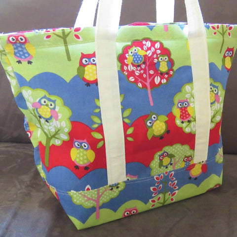 Aqua owl tote bag knitting bag beach bag library bag