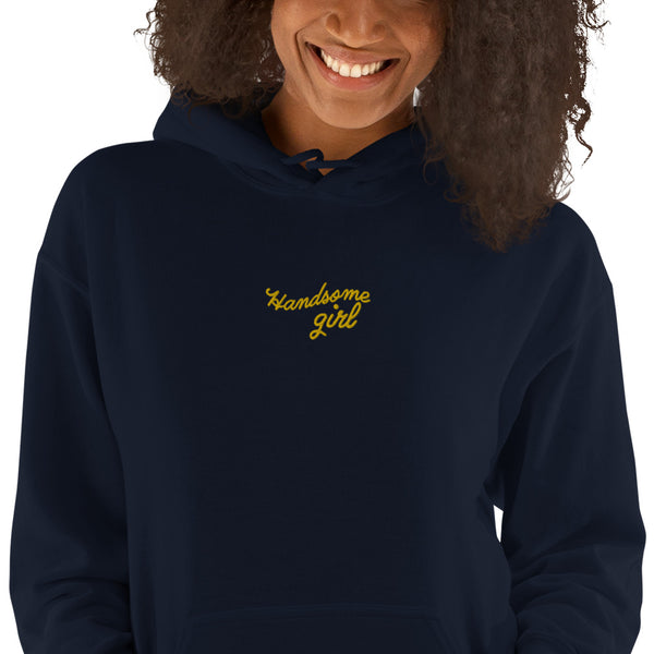 Handsome Girl Embroidered Hoodie