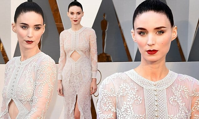 Rooney Mara arrives at the Oscars on Sunday, Feb. 28, 2016, at the Dolby Theatre in Los Angeles. (Photo by Jordan Strauss/Invision/AP)