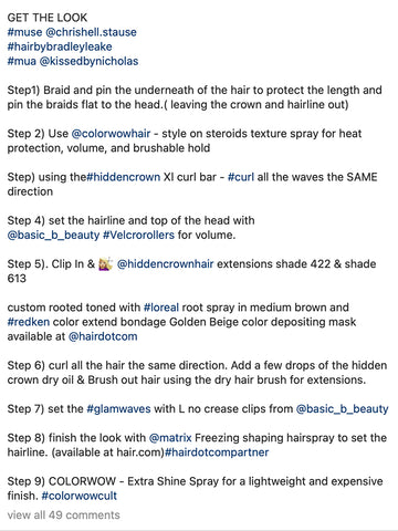 Chrishell stause creative emmys 2021 bradley leake hair red carpet hidden crown clip ins step by step instructions products