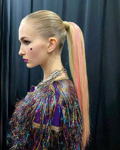 Color pop hair extensions erick invisible csiriano justine marjan NYFW hidden crown hair bungee ponytail