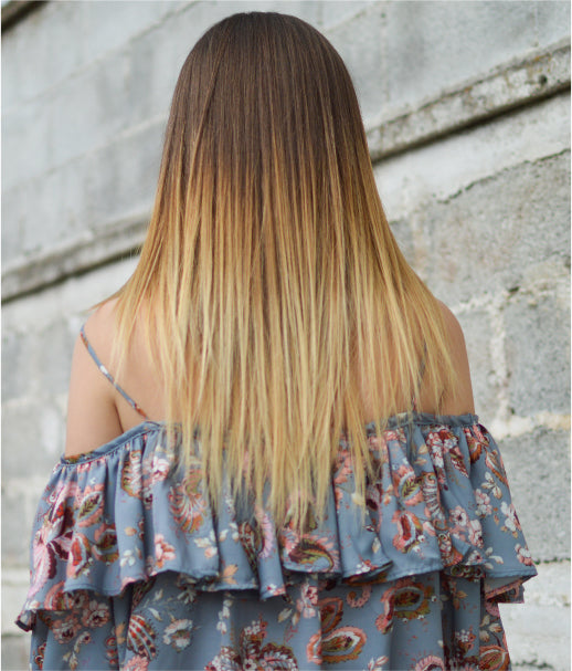 dirty blonde ombre with hidden crown hair