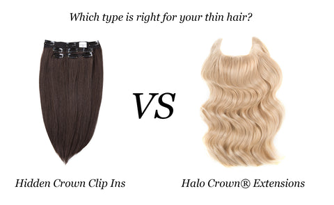 Hidden Crown clip ins versus halo crown extensions