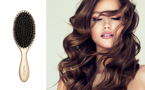 Hidden crown hair natural boar bristle brush hair care beauty products exclusive young woman long wavy hair