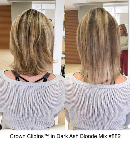 Hidden crown hair crown clip ins 8 inch extensions before after