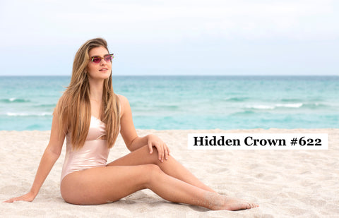 Young woman balayage hair beach beauty glam Hidden Crown Hair Extensions