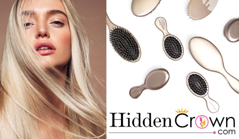 Hidden crown hair launch hair care beauty products boar bristle brushes exclusive young woman long blonde hair beauty studio