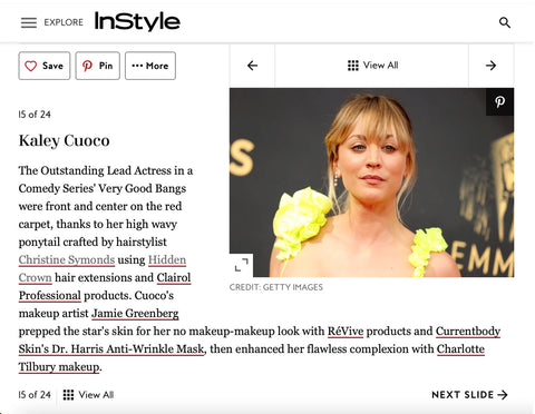 Kaley cuoco hidden crown clip ins christine symonds 2021 emmy awards red carpet beauty InStyle magazine