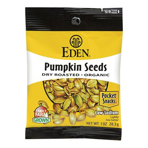 Eden Foods Dry Roasted Salted Pumpkin Seeds - Snack Pack