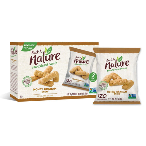 Back To Nature Grab & Go Mini Honey Graham Sticks - 32 Count