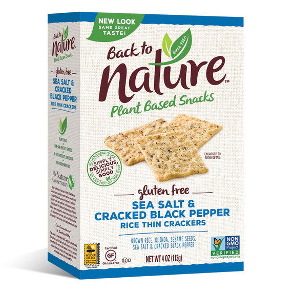 Back To Nature Sea Salt & Cracked Black Pepper Rice Thin Crackers (Gluten Free)