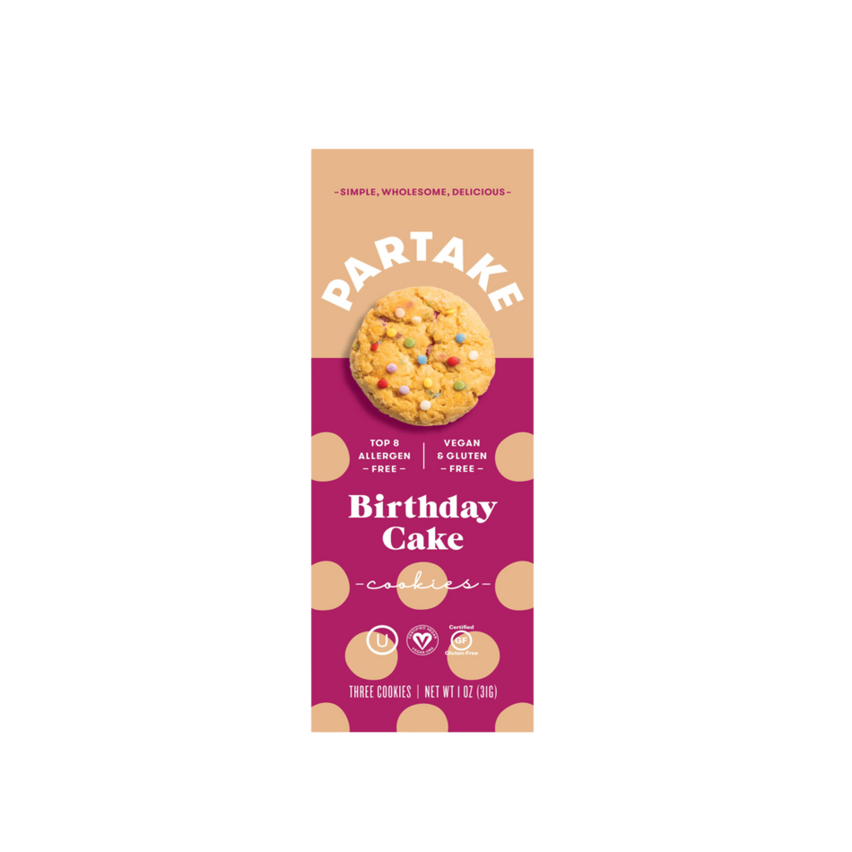 Partake Foods Birthday Cake Cookies - Snack Pack (24 count)
