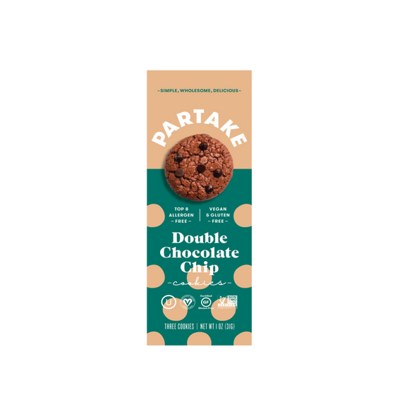 Partake Foods Double Chocolate Chip Cookies - Snack Pack (24 count)