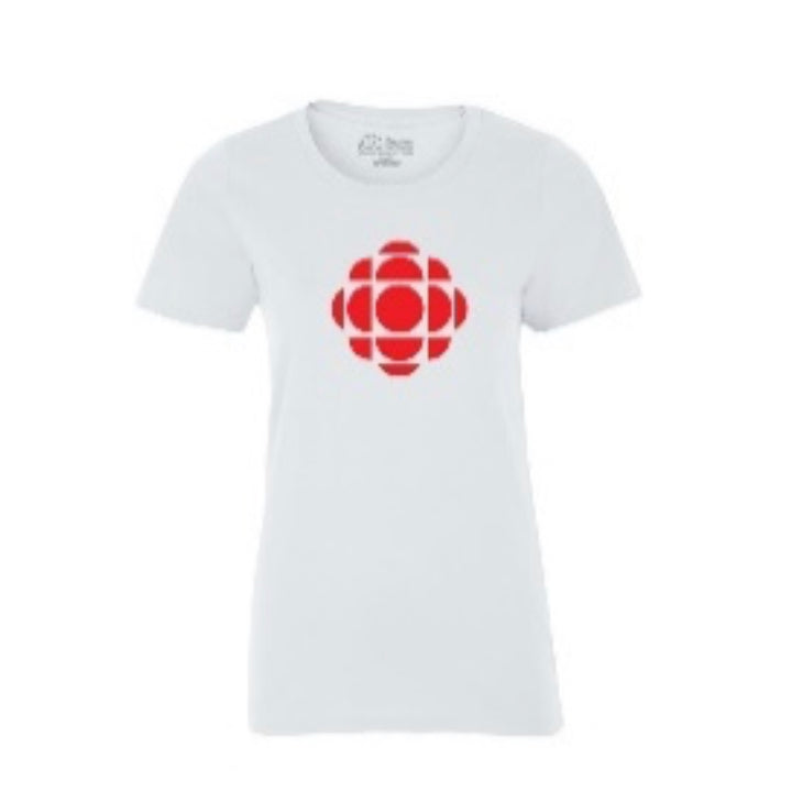 Ladies White Tshirt with Red CBC Gem Logo