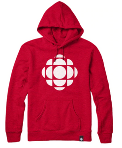 Red hoodie with Solid White CBC gem logo