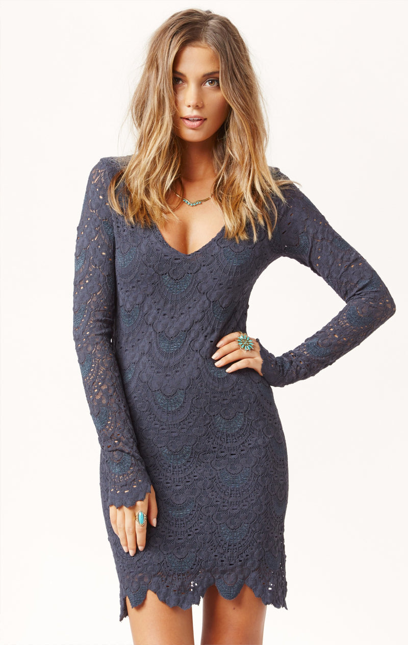 Deep V Spanish Lace Dress Charcoal