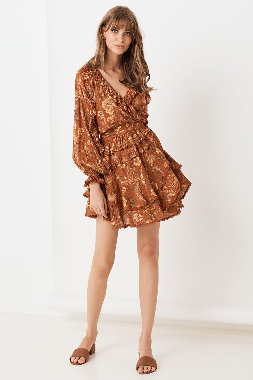 Aurora Long Sleeve Playdress - Burnt Ember (3990429696064)